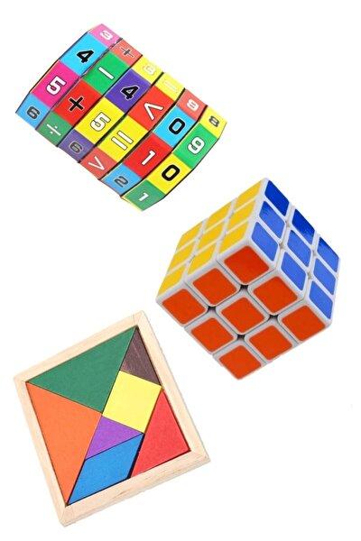 3'lü Eğitici Oyuncak Seti Zeka Küpü Matematik Işlem Ve Ahşap Tangram Set