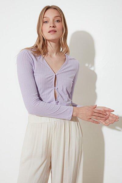 Lila Düğmeli Örme Bluz TWOSS21BZ0636