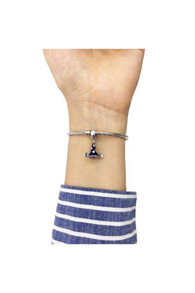 Disney Mickey Mouse Mavi Mineli Büyücü Şapkası Pandora Bilekliklerine Uyumlu Gümüş Charm