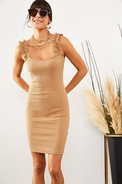 Kadın Sütlü Kahve Askısı Fırfırlı Likralı Kaşkorse Elbise ELB-19001051