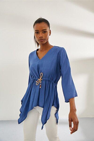 Kadın Mavi Kenarları Uzun Tunik