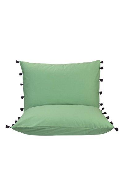 %100 Pamuk Tanora Püsküllü Yastık Kılıfı Yeşil 2'li (50X70 CM)