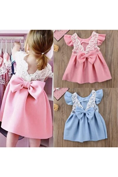 Kız Bebek Pembe Sırt Detaylı Elbise