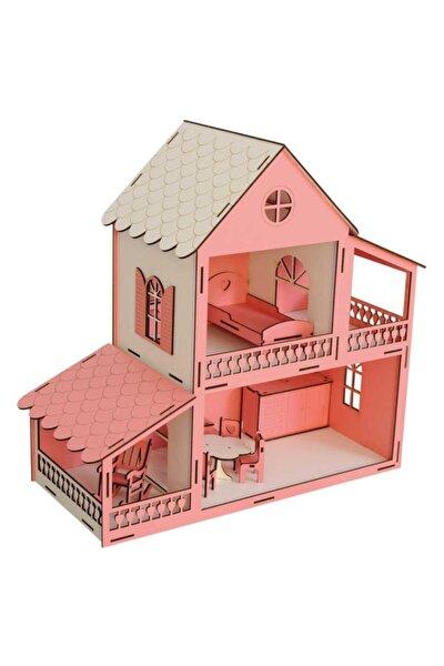 Ahşap Barbi Bebek Oyun Evi 2 Katlı Eşyalar Dahil 45 Cm