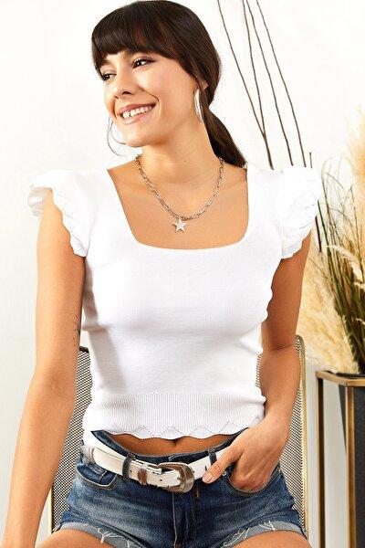 Kadın Ekru Kolu Fırfırlı Yazlık Triko Bluz BLZ-19001035