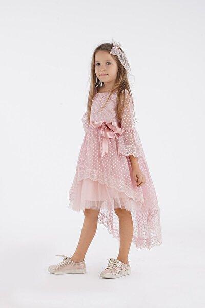 Kuyruklu Dantel Kız Çocuk Elbisesi