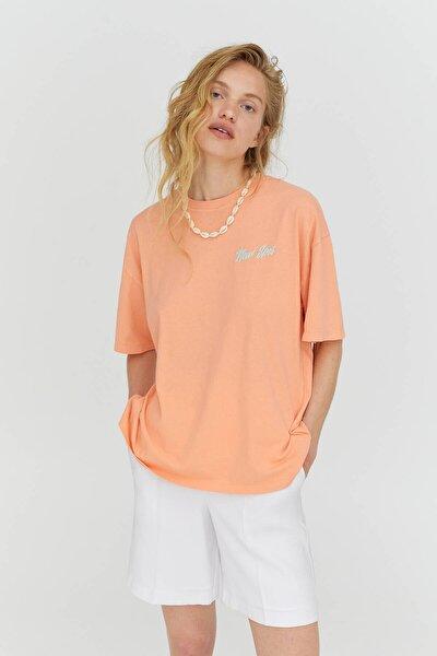 Kadın Kontrast Grafik Baskılı Somon Pembesi T-Shirt 04241381