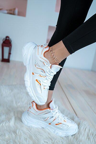 Kadın Sneaker Kalın Taban Günlük Ayakkabı Beyaz Oranj