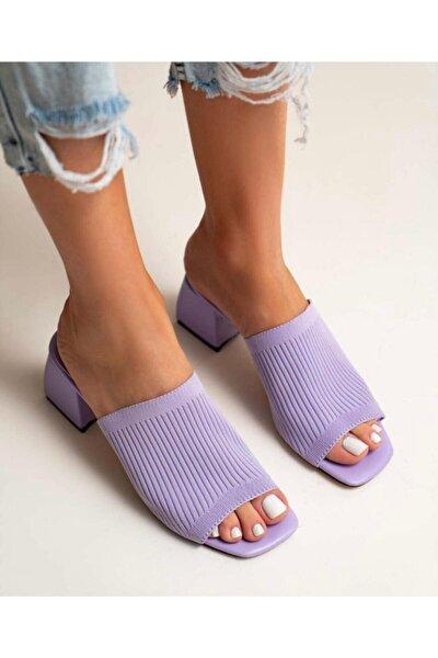 Kadın Lila Topuklu Triko Terlik