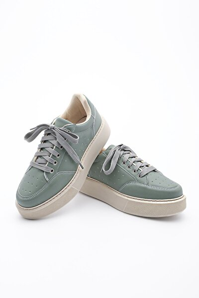 Kadın Yeşil Kalın Taban Sneaker Ayakkabı Azin