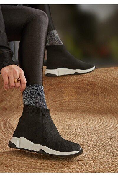 Kadın Siyah Triko Spor Ayakkabı