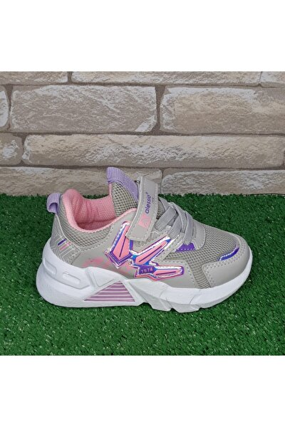 Kız Çocuk Gri Pembe Spor Ayakkabı