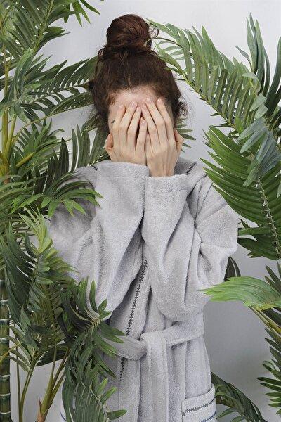 Profundo Robe Fog Kadın Gri Kapüşonlu Bornoz
