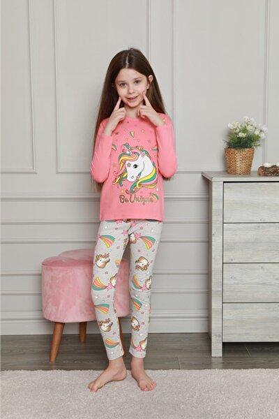 Kız Çocuk Pembe Unicorn Desen Alt Üst Pijama Takımı