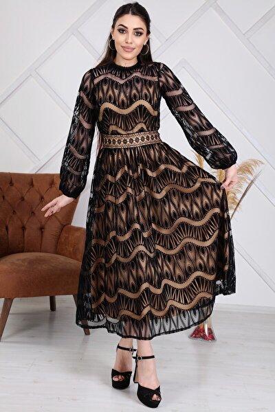 Kadın Siyah Özel Flok Baskılı Tasarım Elbise