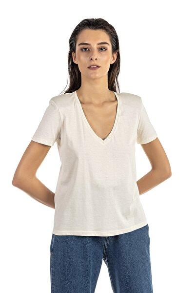 Kadın Bej V Yaka Penye Bluz 101A03505