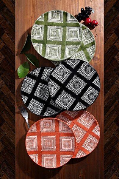 6'lı Özel Tasarım Handmade 21cm Pasta Tabak Seti