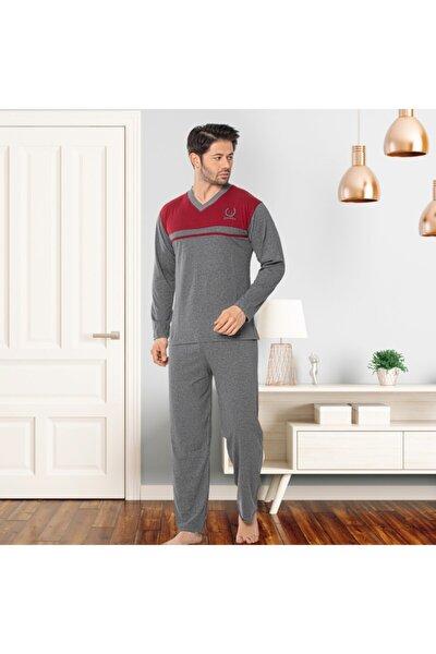 Uzun Kol V Yaka Erkek Antrasit Pijama Takımı