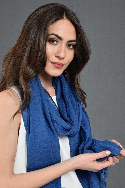 Kadın Royal Mavi Modal  Pamuk Fular 45x195 cm