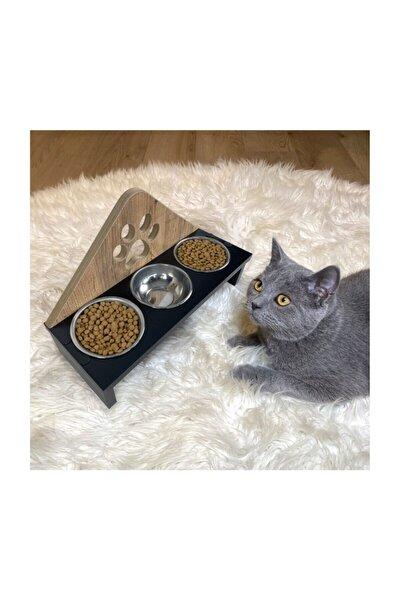 3'lü Ahşap Kedi Mama Ve Su Kabı - Pati