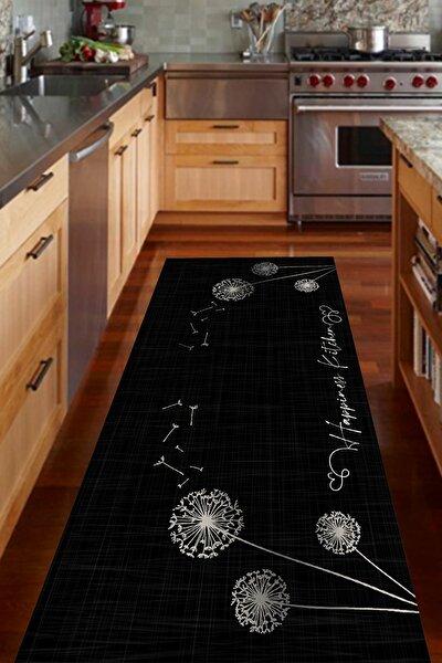 Siyah Happiness Kitchen Yazılı Mutfak Halısı   Cp388