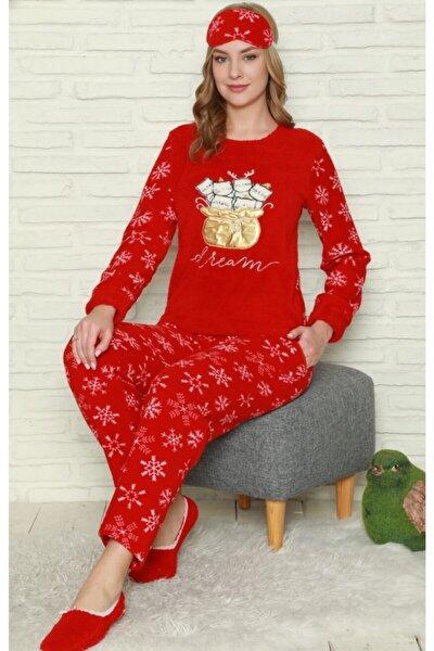 Kadın Kırmızı Polar Peluş Yavru Kediler Pijama Takımı