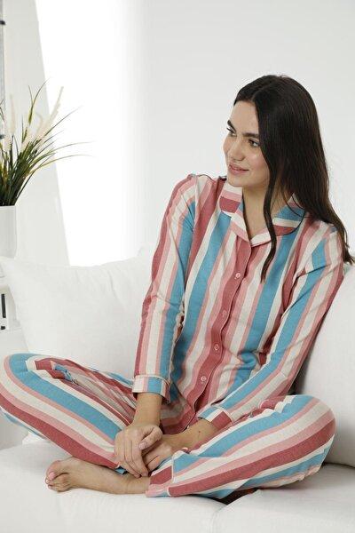 Kadın Pamuklu Likralı Düğmeli Biyeli Pijama Takım