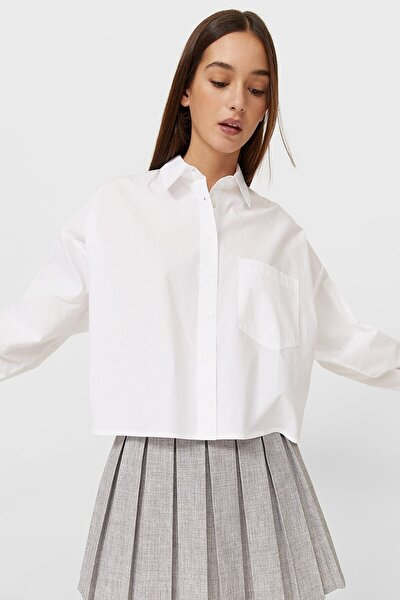 Kadın Beyaz Crop Fit Poplin Gömlek 06201145