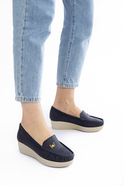 Kadın Lacivert Günlük Ortopedik Dolgu Topuklu Loafer Anne Ayakkabısı