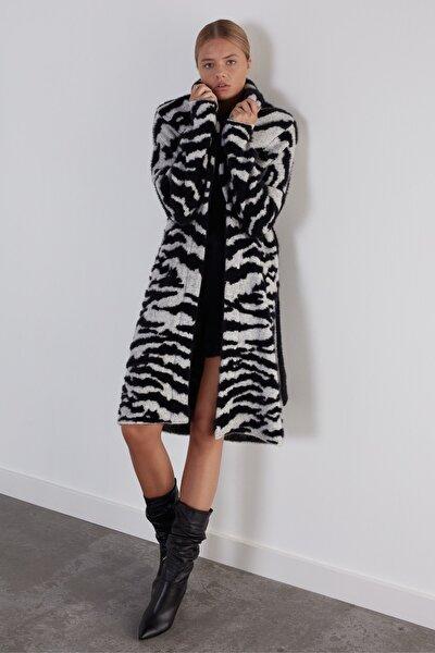 Kadın Siyah Zebra Şal Yaka Beli Kemerli Triko Hırka