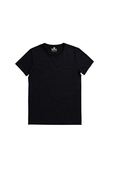 Erkek Siyah Solıd Tee Os Bisiklet Yaka Tişört