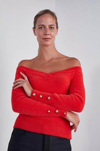 Kadın Kırmızı Yumuşak Doku Triko Kazak