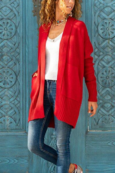 Kadın Kırmızı Çift Cepli Hırka GK-CCK74000