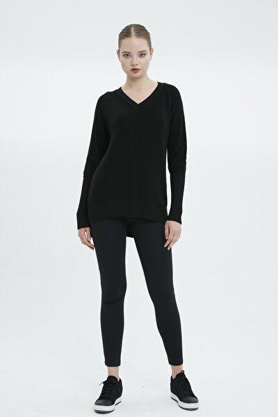 Kadın Siyah V Yaka Tunik-4sv03