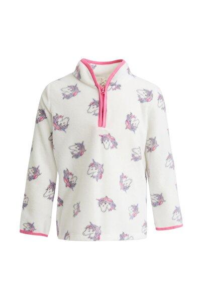 Kız Çocuk Ekru Unicorn Baskılı Polar Sweatshirt