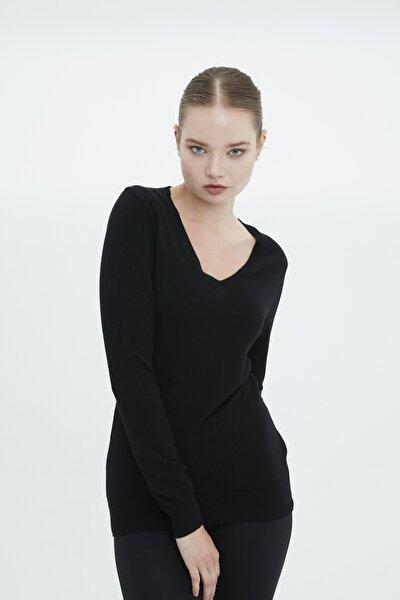 Kadın Siyah  V Yaka Kazak-4md05