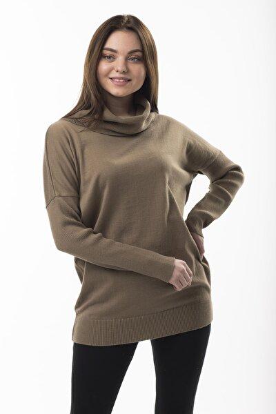 Kadın Kahverengi  Degaje Yaka Bluz 2fm6438