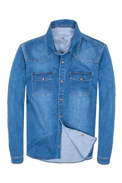 Erkek Mavi Çıt Çıt Düğmeli Çift Cep Kot Gömlek