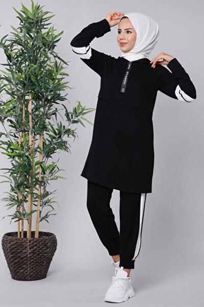 Kadın Siyah Şeritli İkili Takım