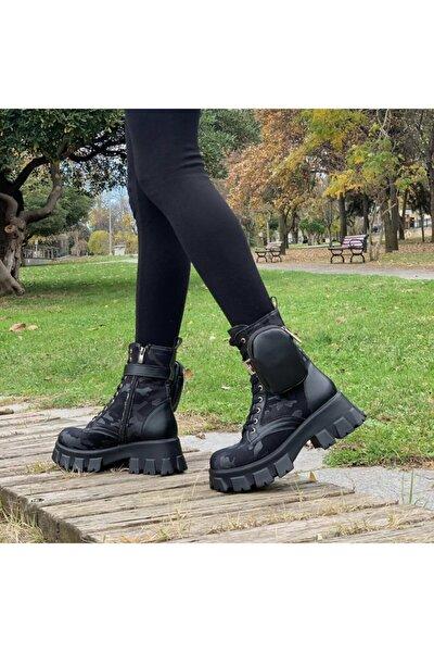 Kadın Siyah Cepli Çantalı  Kamuflaj Deri Postal Bağcıklı Ve Fermuarlı Bot Ayakkabı