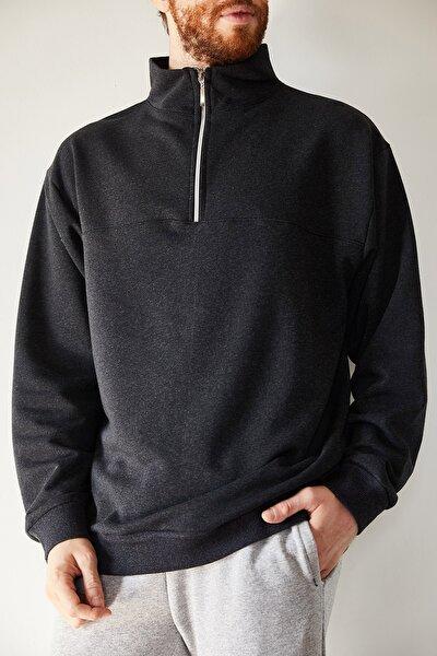 Erkek Antrasit Yakası Fermuarlı Sweatshirt 1kxe8-44224-36