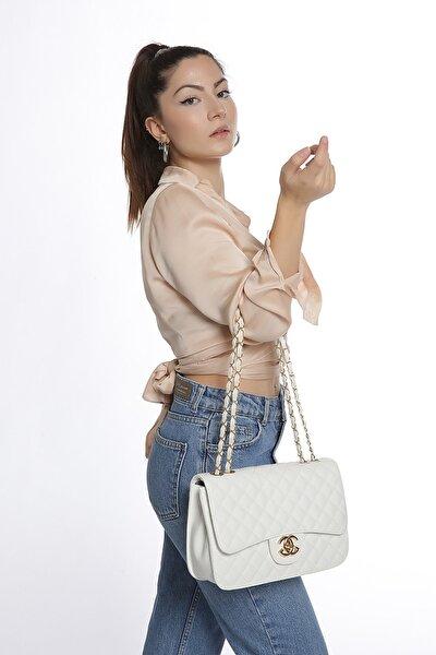 Kadın Beyaz Roslyy Zincir Askılı Omuz Çantası