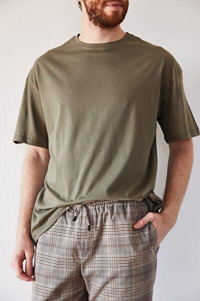 Erkek Haki Basic Bol Kesim Oversize T-shirt 1kxe1-44215-09
