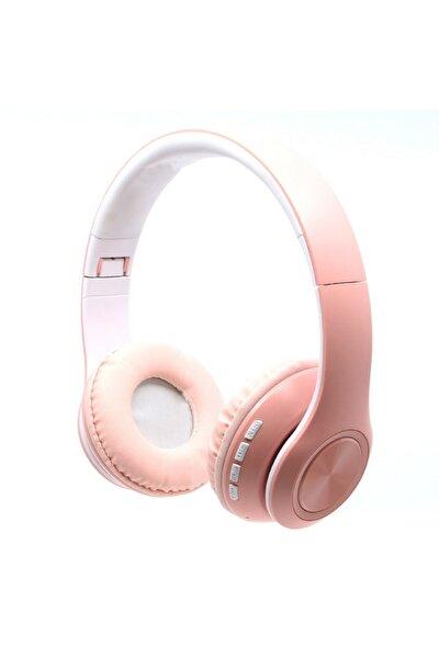 Kablosuz Mikrofonlu Bluetooth Kulak Üstü Pembe Kulaklık
