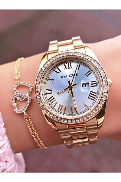 Marka Taşlı Takvimli Bayan Saat-bileklik Hediyeli