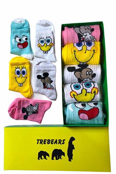 Çorap Renkli Desenli Karakter Desenli 5 Li Set