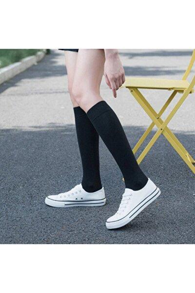 Kadın Siyah Diz Altı Bambu Dikişsiz Çorap 4 Çift