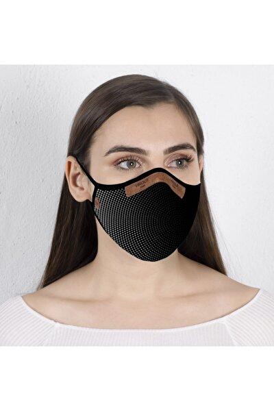 Kadın Siyah Optik Giyilebilir Tasarım Bez Maske V2 Desen