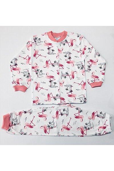 Kız Çocuk Pembe Çıtçıtlı Desenli Pijama Takımı