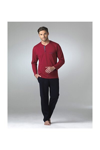 Erkek Bordo Uzun Kollu Pijama Takımı